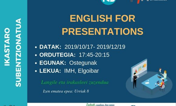 English for Presentations – Curso 100% Subvencionado